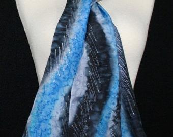 Blue Silk Scarf. Black Hand Painted Silk Shawl. Grey Handmade Silk Scarf WINTER TALE. Size 8x54. Birthday, Bridesmaid Gift. Gift-Wrapped