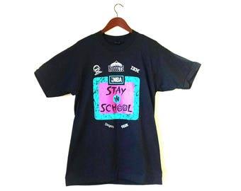 Vintage 1990s Denver Nuggets Stay in School NBA tshirt