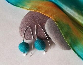 Turquoise Felt Sterling Silver Drop Earrings