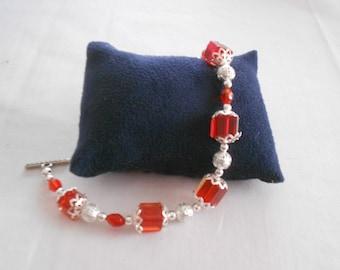 Red crystal bead bracelet
