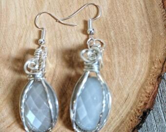 Moonstone earrings, wire wrapped earrings, silver earrings, grey moonstone earrings, silver wire wrap earrings, gemstone earrings