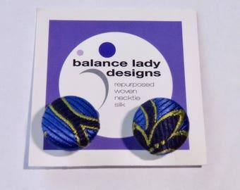 Blue Silk Paisley Flower Unisex Cuff Links