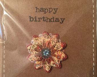 Pretty flower handmade happy birthday card