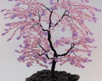 Pink Beaded Bonsai Wire Tree Sculpture with Mauve tips