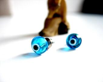 Blue Evil Eye Stud Earrings