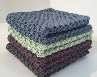 Knitted Wash Cloths in Bamboo and Cotton - many colours - Hand Knitted Eco-friendly