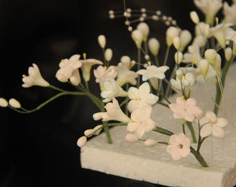 Ready made***  Hyacinth Filler Spray for Wedding Cake Toppers. White flowers ready made.