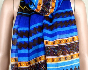 Blue casual cotton scarf, ethnic style stripe print scarves, shawls, collar
