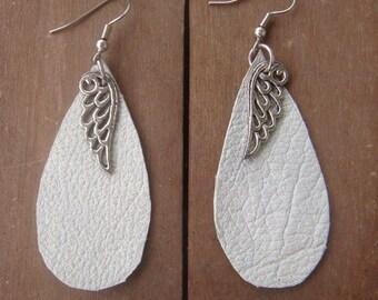 White Leather Earrings - Boho Earrings - Angel Wing Earrings - Grey Leather Earrings - Tear Drop Earrings -Leather Jewelry