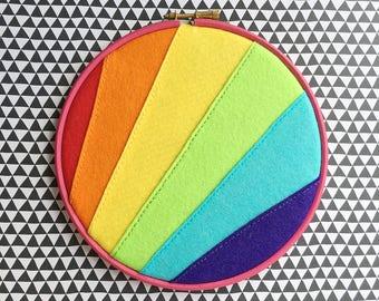Vegan felt rainbow enamel pin holder // rainbow hoop art // vegan friendly // hand stitched embroidery hoop