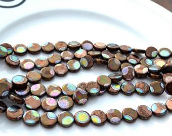 Bronze Metallic Peacock Coin Czech Glass Beads  25