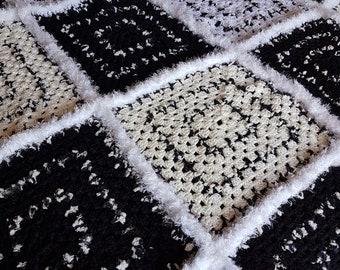 Granny square, serene coloured crochet blanket measuring 133cm x 117cm