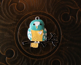 Enamel Owl Pendant for Chunky Bubblegum Necklaces