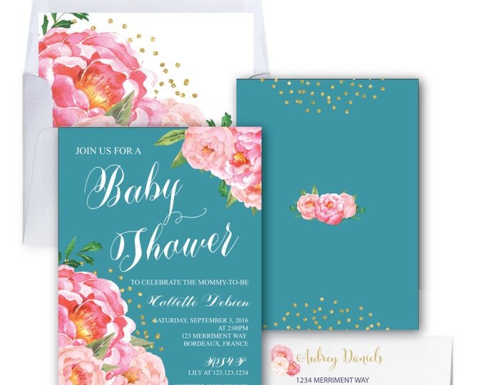 Teal Baby Shower Invitation // Pink Peony Invitation // Floral // Peonies // Baby Spinkle // Pink // Gold Glitter // BORDEAUX COLLECTION