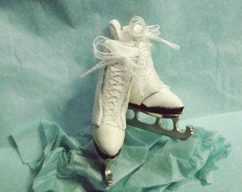 Dolls House Miniature 1/12th  real leather ice skate boots