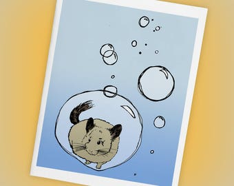 Chinchilla in a Bubble Single Size A2 Blank Greeting Card, Mini Art, Illustration, Pets, Weird, Cute, Blue Ombre, Matte Finish, Made in USA