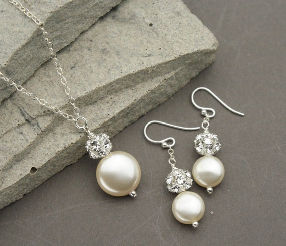 Coin Pearl Jewelry Set White Or Ivory Pearl Necklace And