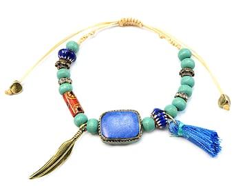 Boho bracelet with wooden beads, Bohemian style bracelet, Boho jewelry, Hippie bracelet, Gift for women, Bohemian jewelry