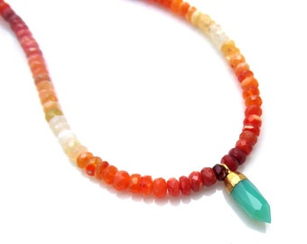 Mexican Fire Opal Necklace with Chrysoprase Pendant  - Artisan Handmade Jewelry - Natural Gemstone Beads