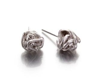 Knot Stud Earrings, Sterling Silver Wire Knot Stud Earrings, Wire Ball Post Earrings Silver Post Earrings,Silver Knot Studs