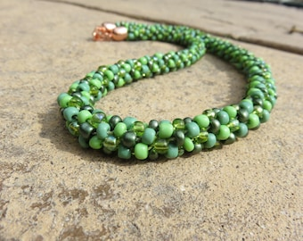 N-43 Shades of Green Beaded Kumihimo Necklace, Beaded Necklace, Seed Bead Necklace, Kumihimo Necklace