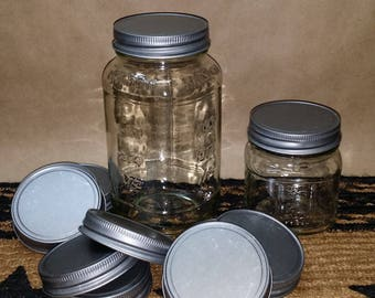 12 New Antique Pewter Lids - Crafts, Candles, Fit Small Mouth, Standard Mason Jars