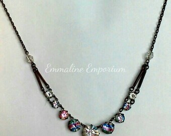 Antique Early Art Deco Czech Rainbow Crystal Necklace.