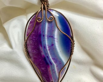 Purple and Blue Banded Agate - Wire Wrapped necklace