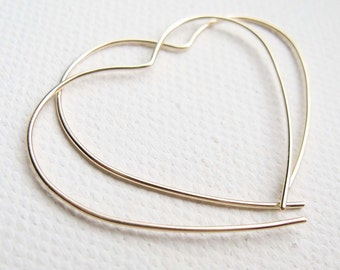 9ct Yellow Gold Hoop, Red Gold Heart Earrings, Large Open Heart Hoop, Simple Gold Earrings,Gold Heart Earrings, Gold Hoop