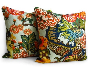 Chiang Mai Dragon Pillows - Pillow Covers - F. Schumacher - Pair of 18 inch - Aquamarine - Zipper Enclosure - Designer Fabric - Chinoiserie