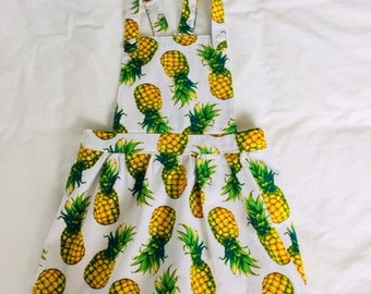 Girls pineapple pinafore dress with matching head scarf