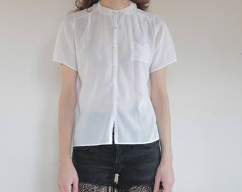 80's Cacharel white cotton sheer blouse with lace collar and tiny pocket / sweetly delicate