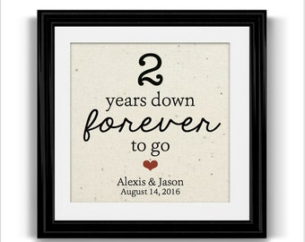 2 Year Anniversary Gift for Husband Wife | Personalized FRAMED Cotton Print | Boyfriend Gift | Engagement Gift | Husband Gift | Wife Gift