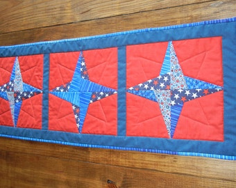 Patriotic Star Table Runner Patchwork cotton runner Handmade quilted table topper ready to ship