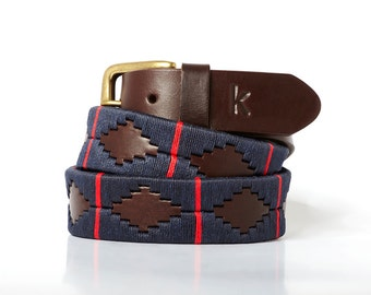 Argentinian leather polo belts - MARINE RED - Embroidered manually - Natural tanning - Unisex model - Kamyno