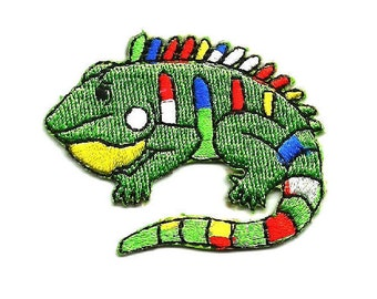 Lizard - Iguana - Southwest - Childrens Colorful Embroidered Iron On Applique Patch