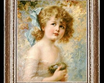 Girl With A Bird Nest Miniature Dollhouse Picture Art 6625