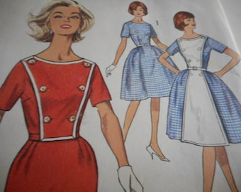 Vintage 1950's Simplicity 4253 Dress Sewing Pattern Size 16 Bust 36