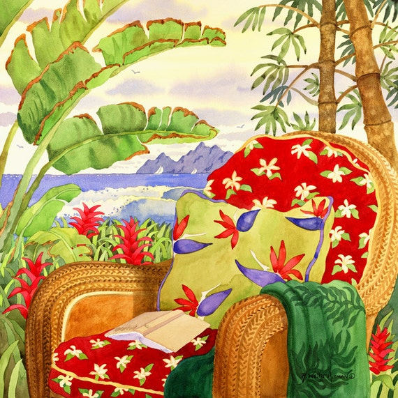Tropical Red Beach Chair Island Art with Ocean, Palms and Bamboo