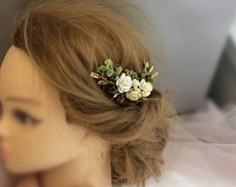 Ivory white green gold hair piece, ivory and white flowers hair clip, gold hair accessories, floral hair vine, bridal headpiece, hair clip,