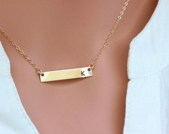 Personalized Gold Bar Monogram Necklace - Contemporary Bridesmaid's jewelry -  Initial Rectangle necklace - Bar necklace gold silver - Bar