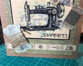 You're sew sweet sewing machine greetings card