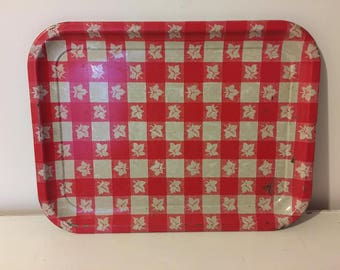 Vintage Metal Tray - Camper Decor- Farmhouse - Gingham Red and White