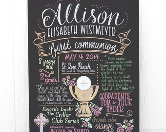 """Favorite Things Poster™ for a First Communion, 15""""x20"""" art board, custom ink drawing"""