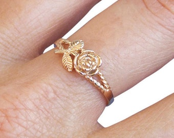 Gold Ring, Flower Ring, Rose Ring, Branch Ring, Blossom Ring, Floral Ring, Band Ring