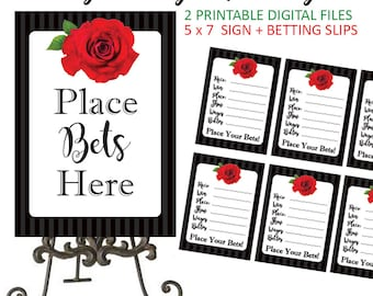 Kentucky Derby Betting - Betting - Kentucky Derby Party - Kentucky Derby - Betting Cards - Betting Slips - Derby Betting Sign - Printable
