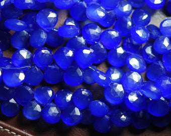 8 Inches, Cobalt Blue Chalcedony Faceted Heart Shape Briolettes 10-11mm
