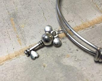 Mickey bangle bracelet, charm bracelet, silver charm bracelet, Adjustable bangle bracelet, Cute mickey mouse key bracelet, Disney lover