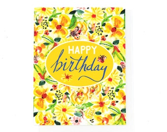 Sunny Yellow Happy Birthday Card, Floral
