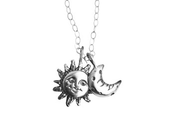 Sun and Moon Necklace, Silver Sun and Moon, Pendant Necklace, Sun and Moon Charm Necklace, Silver Charm Necklace, Thin Charm Necklace